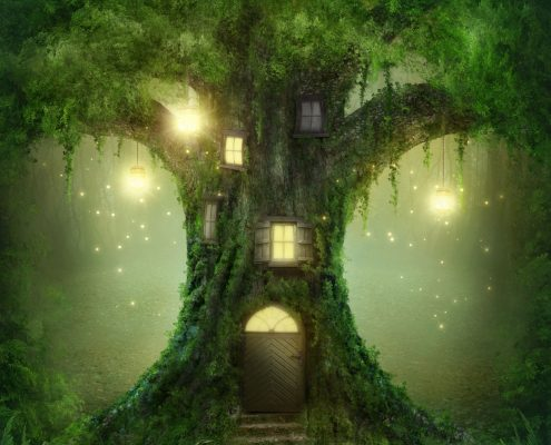 22925111 - fantasy tree house in forest